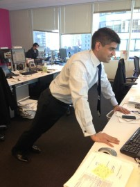 Celebratory INCLINE DESK PUSH UPS after finishing a report at work! Sahil A. of Pennsylvania